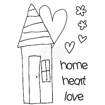 Polkadoodles Sello claro - Casa de corazones A7