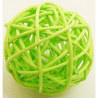 6 Boules en osier vert anis 3,5 cm