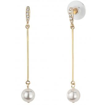 Traveller Drop Earrings - White Pearl - Long - 22ct Gold Plated - 114211 - 819