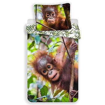 Orangutan 100% algodón cubierta de edredón único y funda de almohada set - Europeo