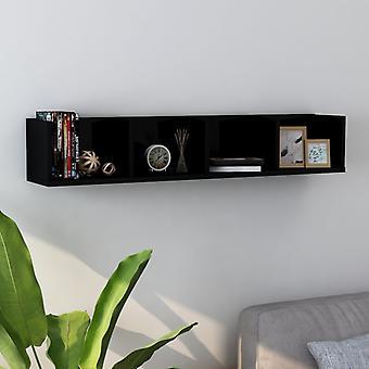 vidaXL جدار مضغوط الجرف الأسود عالية اللمعان 100 × 18 × 18 سم اللوح