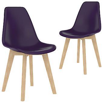 vidaXL تناول الطعام الكراسي 2 PCS. البلاستيك الأرجواني