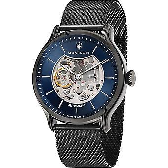 Maserati R8823118006 Men's Epoca Automatic Black Steel Mesh Wristwatch
