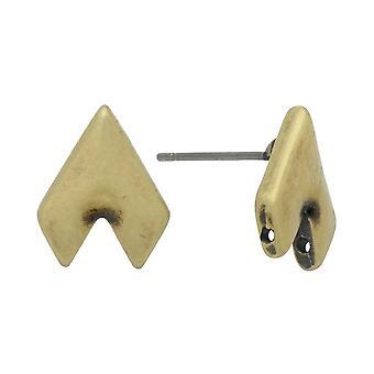 Postes de pendientes de platillo para gemduo perlas, Provatas II, medio diamante 13x10mm, 1 par, latón antiguo plateado
