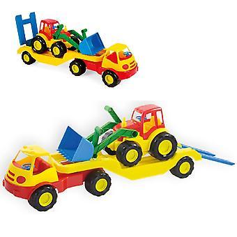 Mochtoys Toy Truck 10001 con cargador bajo, cargador de ruedas y rampa de carga 61 x 16 cm