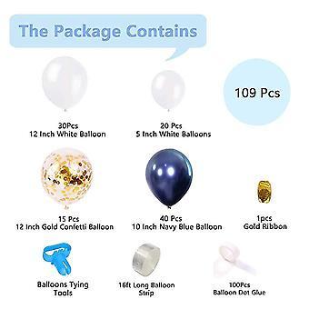 Fête célébration d'anniversaire de mariage ballons décorations 109pcs encre latex bleu