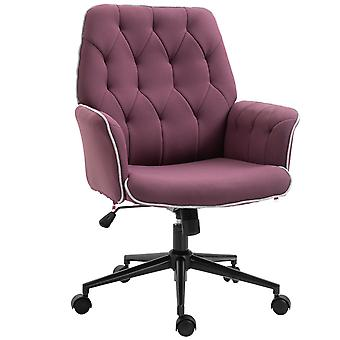 Vinsetto Linen Office Swivel Chair Mid Back Computer Desk Chair with Adjustable Seat, Arm - Purple