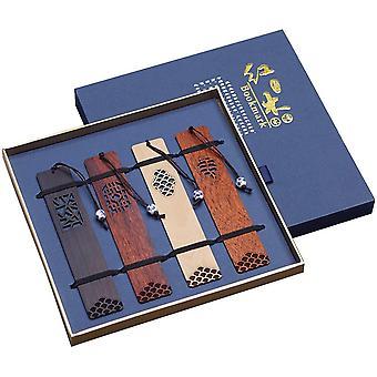 Handgemachte Schnitzerei natürliche Holz Lesezeichen Geschenkbox-Set, ein einzigartiges Geschenk für Lehrer,