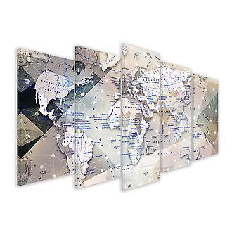 Tableau 5 parties carte du monde russe - 150x80 cm