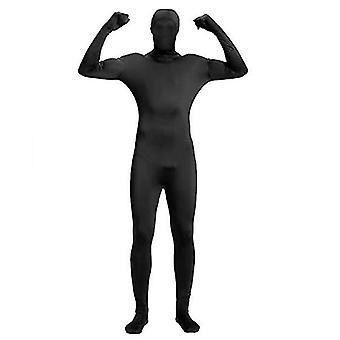 L svart hel bodysuit unisex spandex stretch vuxen kostym x4239