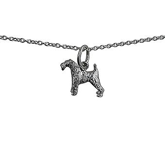 Silver 19x12mm Airedale Terrier Pendant with a rolo Chain 24 inches
