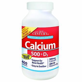 القرن الحادي والعشرين الكالسيوم زائد فيتامين D3, 500mg, 400 علامات التبويب