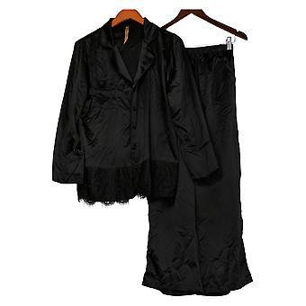 Casa Zeta-Jones Женский искусственный шелковый пижама с кружевной отделкой Черный H215893