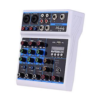 4-kanaals audiomixer mengtafel ledscherm