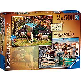 Ravensburger Viehättävä Hampshire Palapelit (2 x 500 Kappaletta)