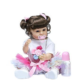 55Cm bebe pige genfødt lille barn prinsesse dukke naturtro real touch hele kroppen blød silikone vandtæt bad legetøj dukke pige gave