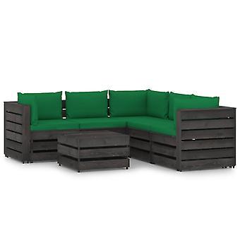 维达XL 6件。花园休息室设置与垫灰色浸渍木材