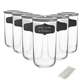 6x frascos de almacenamiento de vidrio Duo con etiquetas contenedor apilable con tapa gris de 1.4 litros