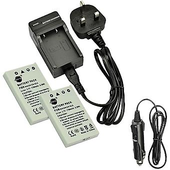 2x EN-EL5 Rechargeable Li-ion Battery + DC12U Travel and Car Charger Adapter for Nikon Coolpix P510
