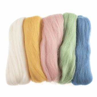Roving de laine naturelle, 50g - Tons pastel