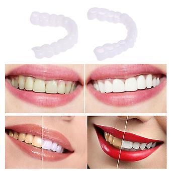 Snap på smil Øvre og nedre Falske Perfect Smile Finer Dental Tandprotese Pasta Tænder Silikone Mold Kridtning Seler Tool