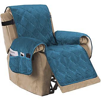 Liege Sofa Slipcover rutschfeste Samt Liege Bezug Möbel Protektor mit elastischen Riemen, Pfau blau
