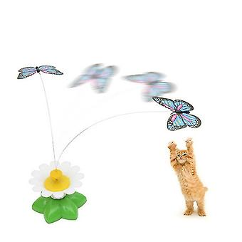 Electric Butterfly Flying Around The Flower Pet Cat Toy