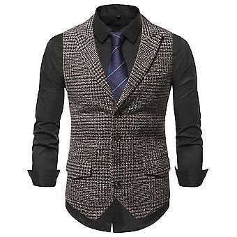 Allthemen Men's Casual Four Seasons Plaid Stitching Single-breasted Waistcoat Formal Suit Assembled Vest
