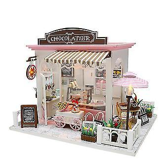 Diy Puppenhaus Miniatur süße Schokolade Wartezeit Lager Puppenhaus mit Möbeln Holzspielzeug für
