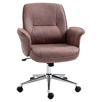 Vinsetto Swivel Computer Office Chair Mid Back Desk Chair for Home Study Bedroom, Red