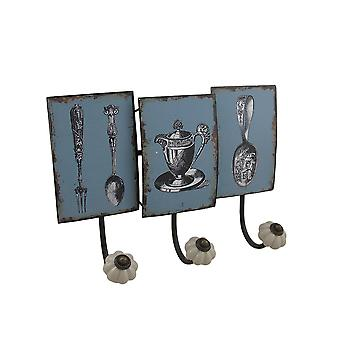Antique Style Tea Service Distressed Finish Decorative Wall Hook