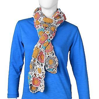 100% Coton Crochet à la Main Blanc, Moutarde & Foulard floral multicolore (144x27cm)