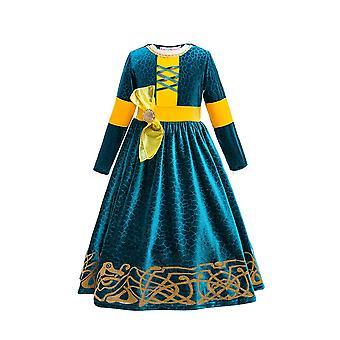 Winter Long Sleeve Fantasia Merida Princess Gothic Dress With Wig Kids Disguise Halloween Child  Lolita Girl Carnival Costume