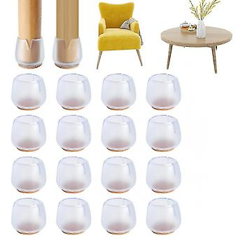 16 Pieces Of Silicone Chair Leg Floor Protection Cover With Felt To Prevent Bumps