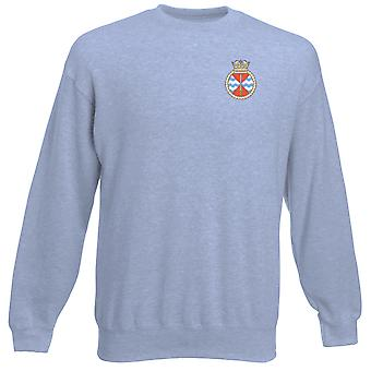 HMS Trenchant Embroidered Logo - Royal Navy Submarine Official MOD Heavyweight Sweatshirt