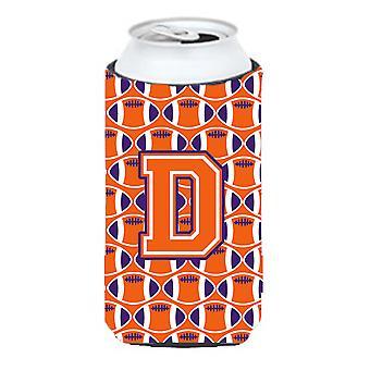 Letter D Football Orange, White and Regalia Tall Boy Beverage Insulator Hugger