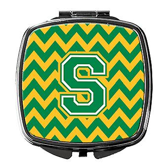 Carolines Treasures  CJ1059-SSCM Letter S Chevron Green and Gold Compact Mirror