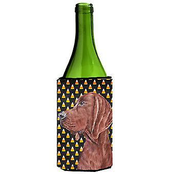 Redbone Coonhound Candy Corn Halloween Wine Bottle Beverage Insulator Hugger