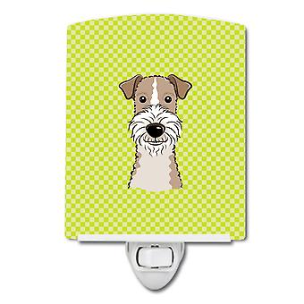 Checkerboard Lime Green Wire Haired Fox Terrier Ceramic Night Light