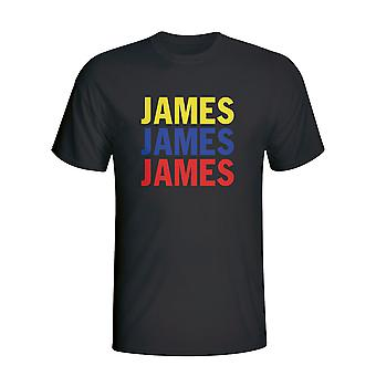 James Rodriguez Colombia spiller flagg T-shirt (svart)