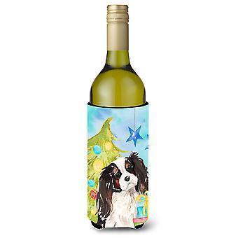 Tricolor Cavalier Spaniel Christmas Wine Bottle Beverge Insulator Hugger