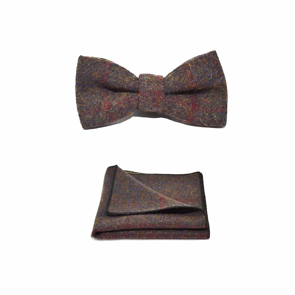 Heritage Check Earth Brown Bow Tie & Pocket Square Set - Tweed, Plaid Country Look