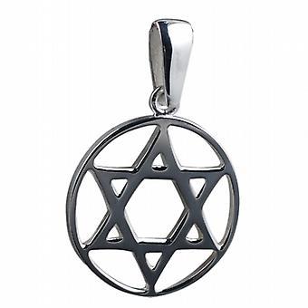 25-نجمة داوود في دائرة قلادة عادي في ملم الفضة