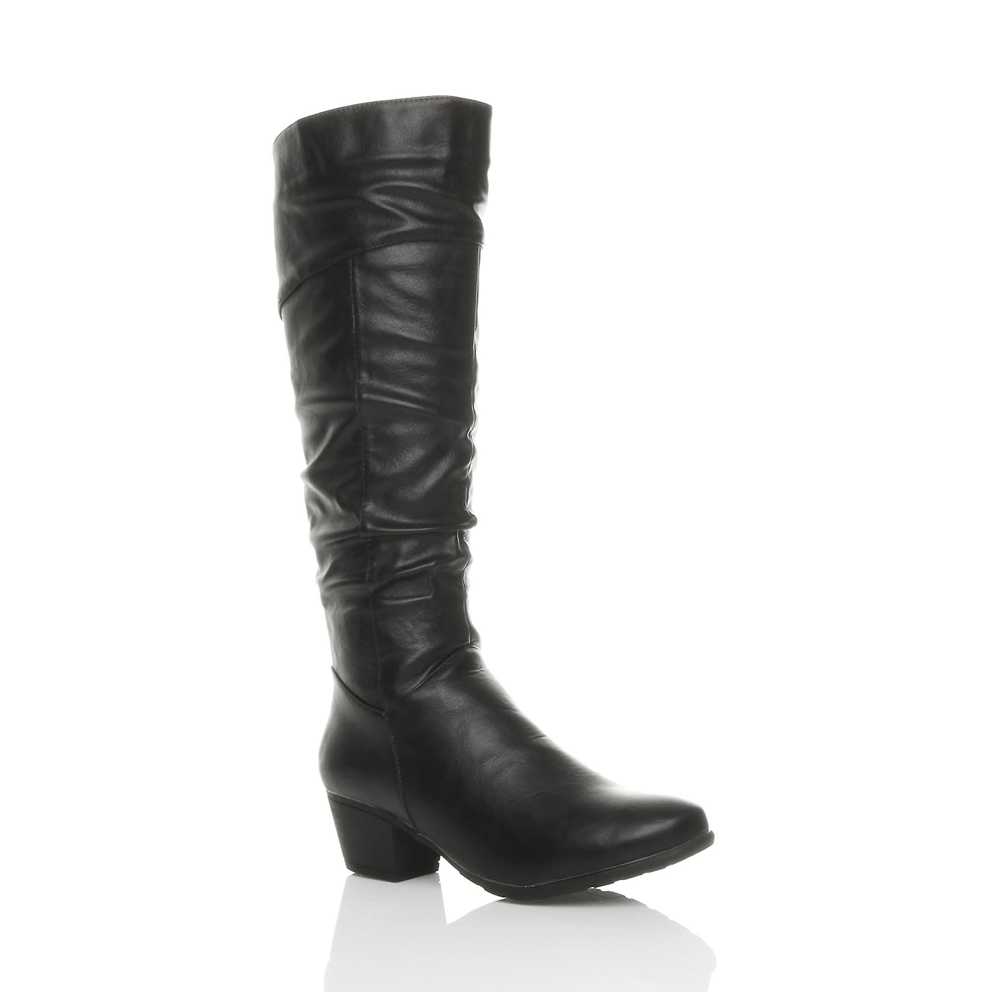 Ajvani womens cuban mid heel zip ruched slim calf cowboy riding knee boots mWGeK