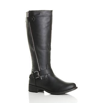 Ajvani womens low block heel chunky zip buckle calf biker riding boots