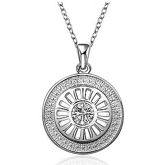 Womens Silver Plated Circular Necklace Pendant With Central Crystal Stone
