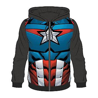 Bioworld Mens Marvel Comics Captain America Full Length Zipper Hoodie Small