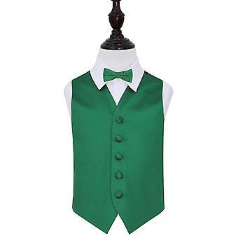 Smaragd grønn ren Satin bryllupet vest & tversoversløyfe sett for gutter