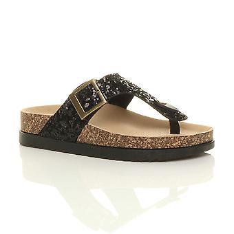 Ajvani womens platte flatform gesp strappy dia's t-bar platform glitter sparkly schuifregelaars sandalen-slippers