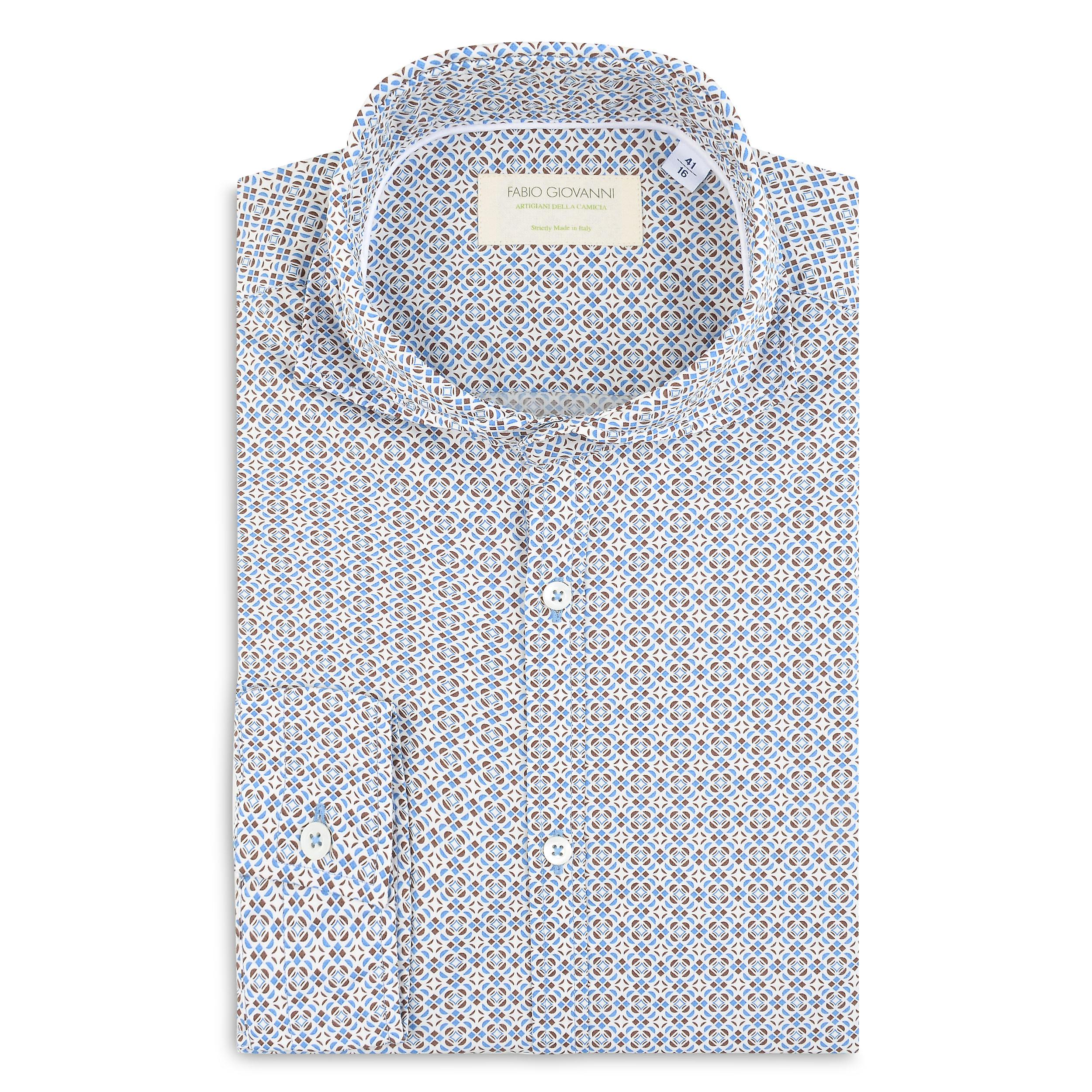 Fabio Giovanni Rivello Shirt - High Qulity Italian Poplin Cotton with Geometric Print Shirt